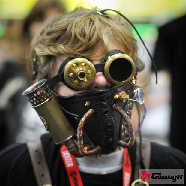 Hunter Todd, aged 12, wears a costume of the steam punk character 'Neodondres'